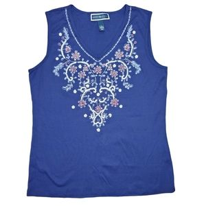 Blue Embroidered V Neck Tank Top Size L